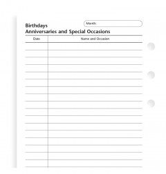 Birthdays, Anniversaries and Special Occasions Personal Refill