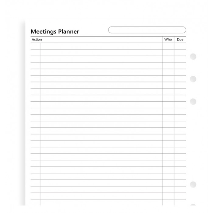 Undated Meetings Planner A5 Refill