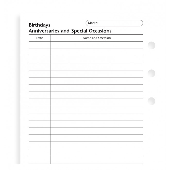 Birthdays, Anniversaries and Special Occasions Pocket Refill