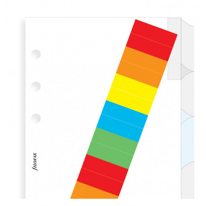 White Blank Index With Multi-Coloured Labels Personal - Six Tabs