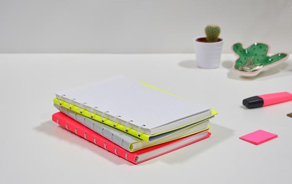 Filofax Notebook Saffiano Fluoro A5 Grey/Yellow